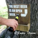 Wood Sign with Beer Bottle Opener a..